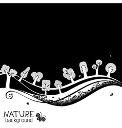 Black and white nature background vector image
