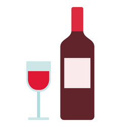 Bottle and glass red wine icon flat isolated vector