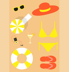bright beach set vector image