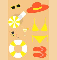 Bright beach set vector