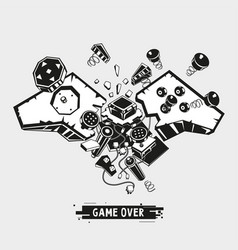 broken joystick gamepad parts video game poster vector image
