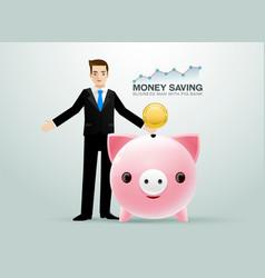 business man pig bank coin saving money vector image