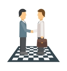 Business people shaking hands finishing up vector