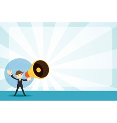 Businessman with Megaphone Announcement Background vector image