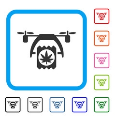 cannabis drone delivery framed icon vector image