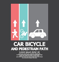 Car Bicycle and Pedestrian Path vector image