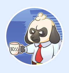 cartoon funny sticker of businessman vector image