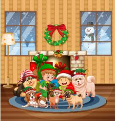 Christmas indoor scene with many children vector