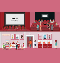 Cinema banners with purchase ticket cinema hall vector