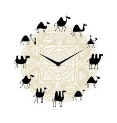 clock with camels silhouette design vector image
