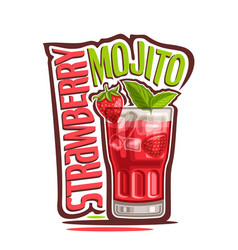 Cocktail strawberry mojito vector