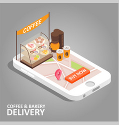 Coffee bakery online isometric vector