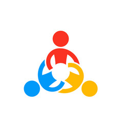 Collaborating teamwork people logo vector