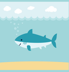 cute cartoon shark on blue wave background vector image
