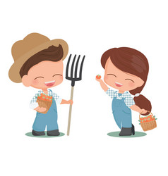 cute flat style young couple harvest persimmon vector image