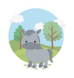 cute horse animal farm character vector image