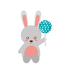 cute rabbit with lollipop sweet candy vector image