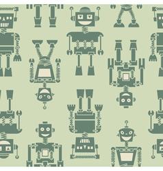 Cute retro robots silhouette background vector image