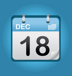 december blue calendar vector image