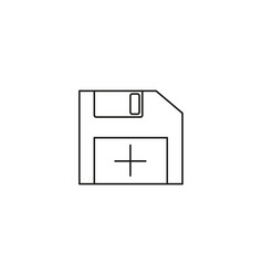 diskette line icon sign on background editable vector image