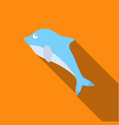 dolphin icon flat singe animal icon from the big vector image