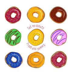 donut flat set isolated on white background vector image