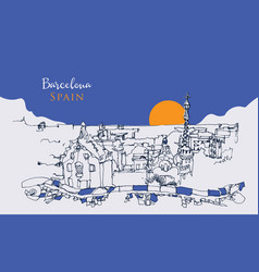 Drawing sketch park guell in barcelona vector