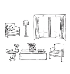 Drawn furniture Room interior sketch vector image