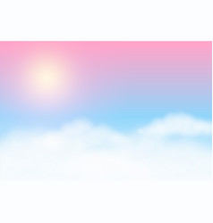 Dreamy soft clouds background with glowing sun vector