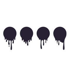 Dripping circle paint ink drop splash melted vector
