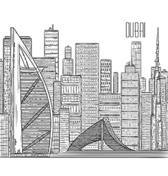 Dubai black and white cityscape in line art style vector