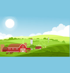 farm with large fields vector image