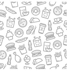 Fast food and seafood seamless pattern vector