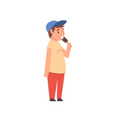 fat boy eating ice cream cute overweight child vector image