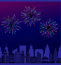 Fireworks on dark night sky background vector