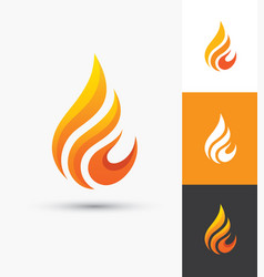 Flame icon in a shape of droplet vector