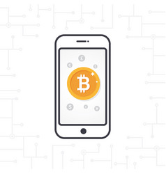flat design smartphone and gold bitcoin coin vector image