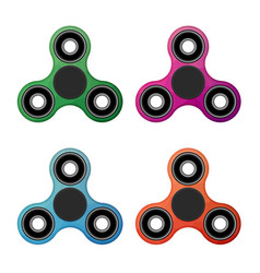 Flat hand spinner color set vector