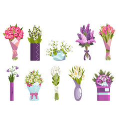 flowers bouquet set design elements for greeting vector image