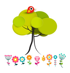 flowers with bird on tree vector image