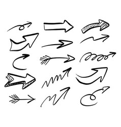 freehand arrow set sketch vector image