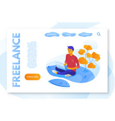 freelance service landing page flat color template vector image