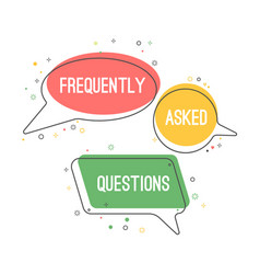 Frequently asked questions emblem on chat clouds vector