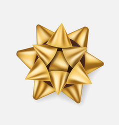 gift bow golden ribbon present box decoration vector image