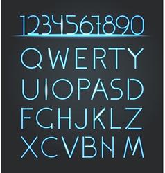 Glowing neon elements lighting digits set vector