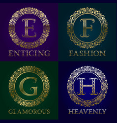 Golden templates for enticing fashion glamorous vector