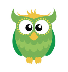 Green cartoon owl vector