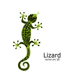 Green lizard sketch zenart for your design vector