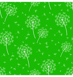 Green seamless pattern with white dandelions vector image