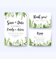 Green wedding invite menu rsvp thank you card set vector